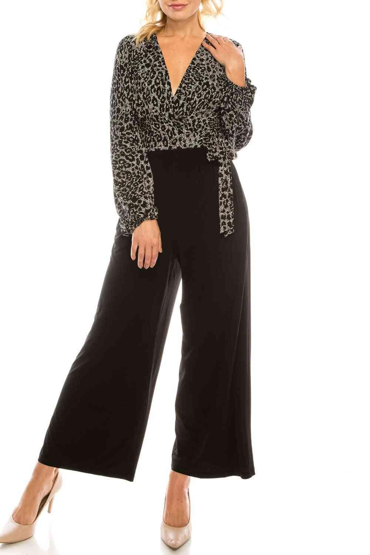 Leopard Printed Surplice Jumpsuit