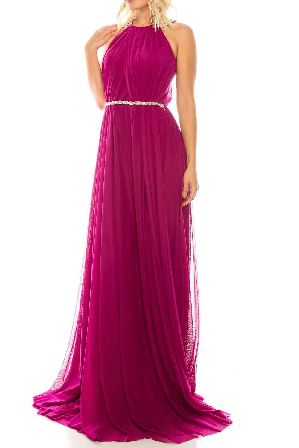 A-line Silhouette Sleeveless, Halter Evening Gown