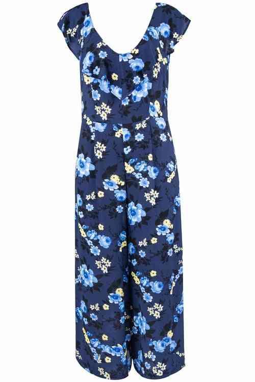 Sleeveless Floral Print, V-neck Ruffle Lining Jumpsuit