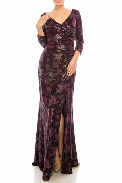 Wild Berry Floral Jacquard Sheath Gown