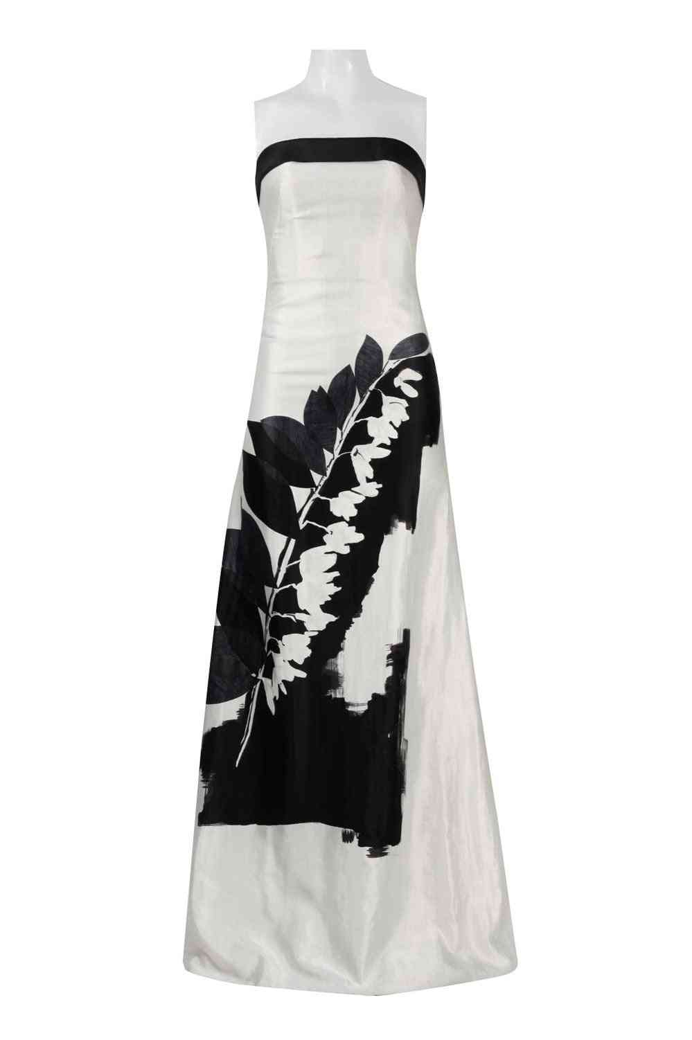 Printed Strapless A-line Gown