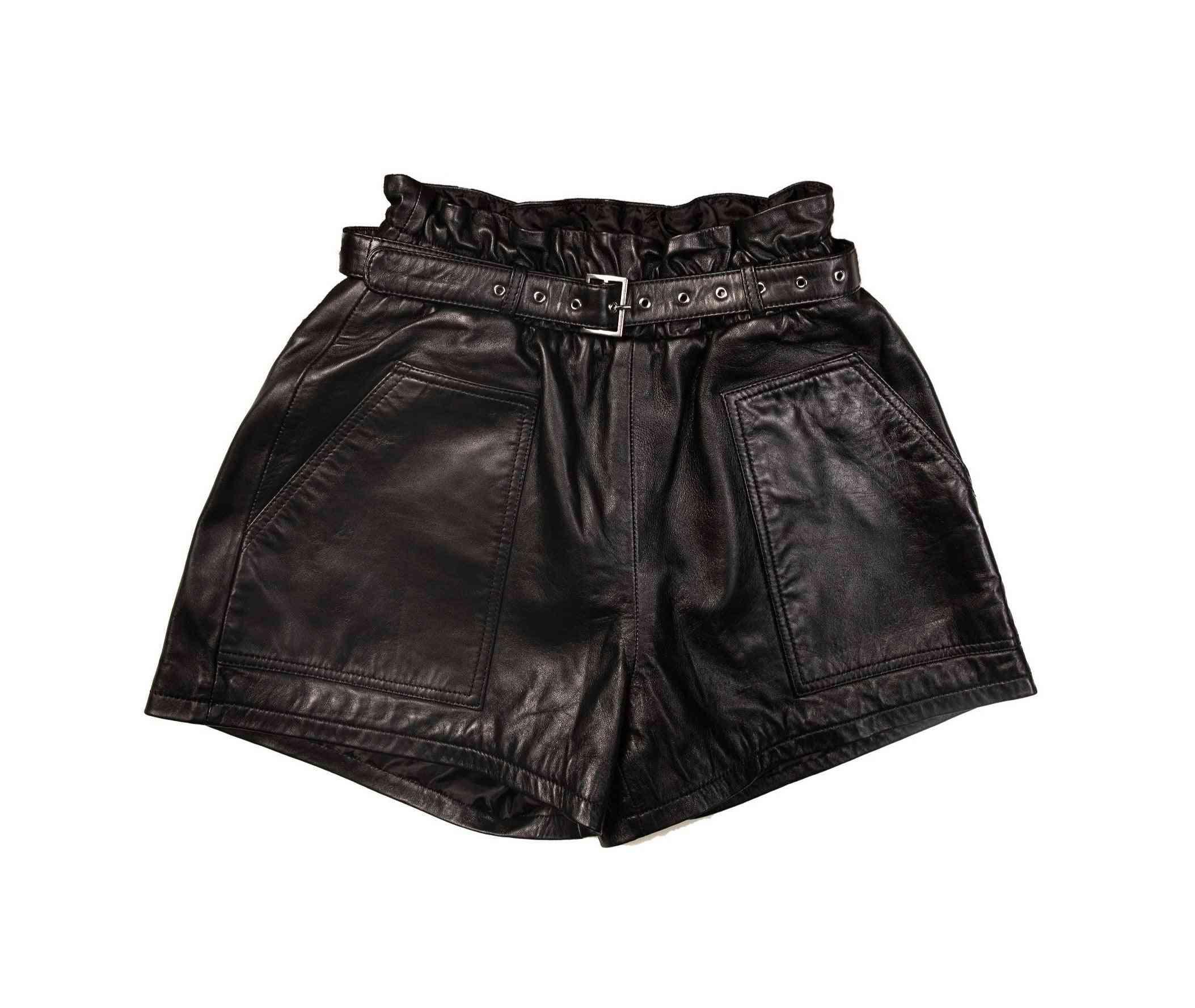 Women's High Waisted Wide Leg Belted Shorts