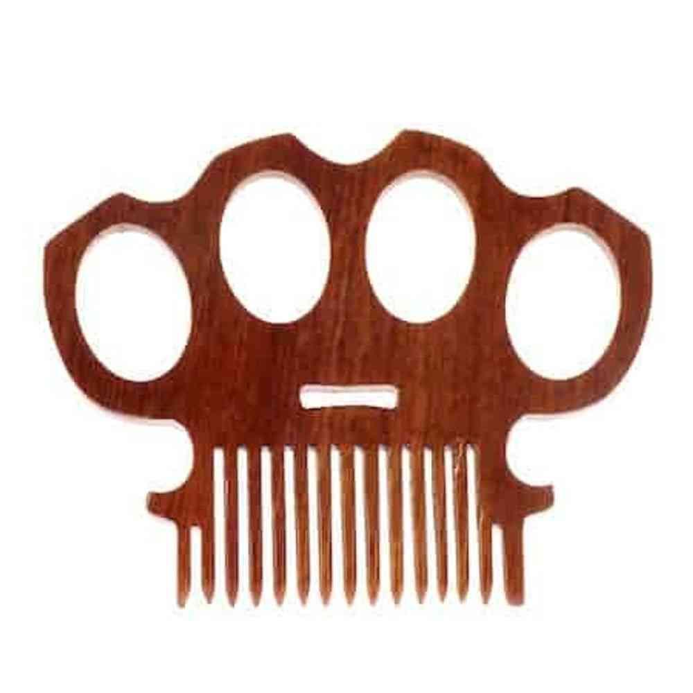 Brass Knuckles Wooden Beard Comb