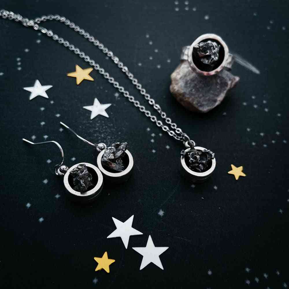 Chunky Round- Authentic Meteorite Jewelry Set