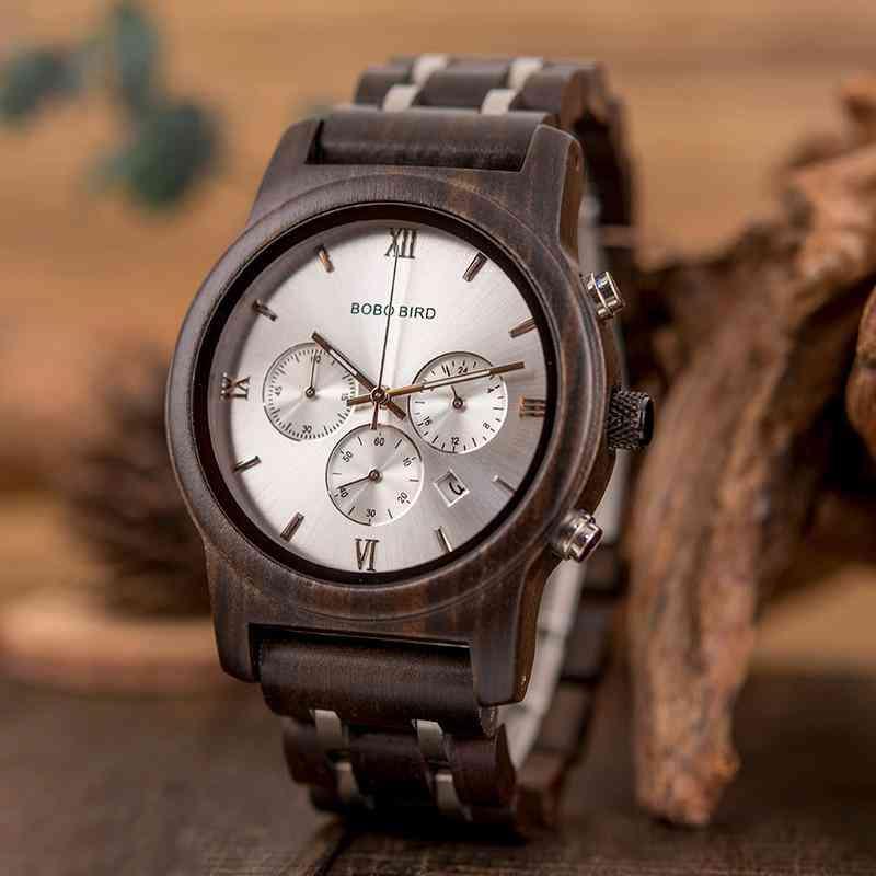 Ebony Wood Men's Quartz Watches With Date Display