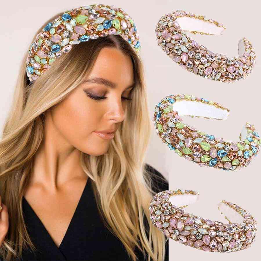 Women Luxury Rhinestones Padded Hairbands
