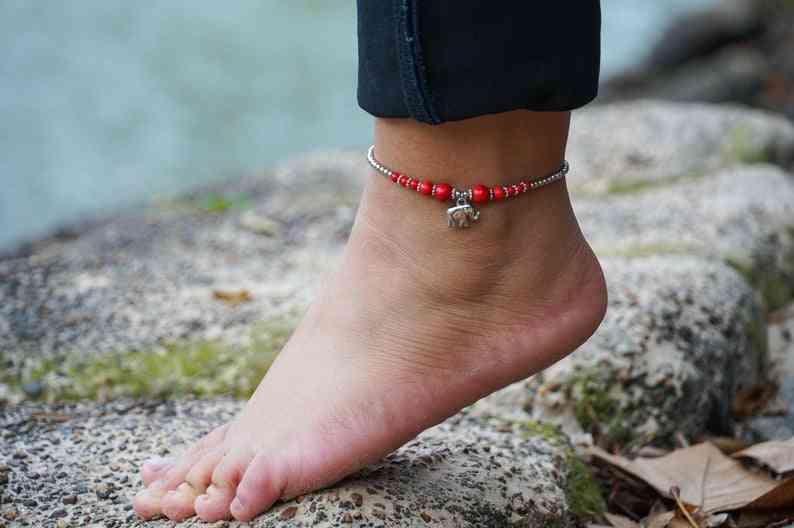 Red Beads, Elephant Pendant-boho Silver Anklet