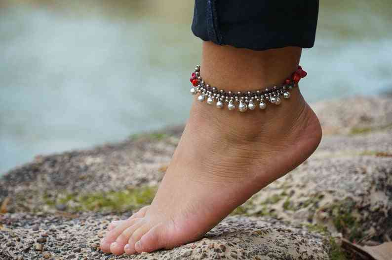Red Silver Bell Stone Boho Anklet