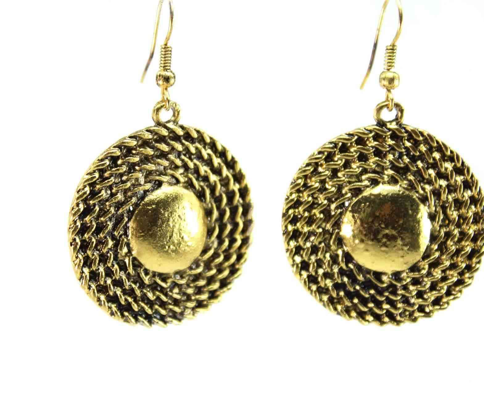 Rope Medallion Necklace & Earring Set