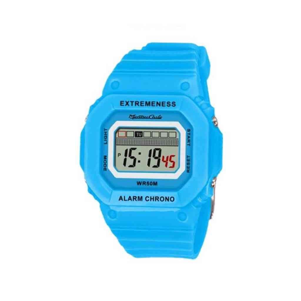 Lcd Digital Watch With Silicon Band