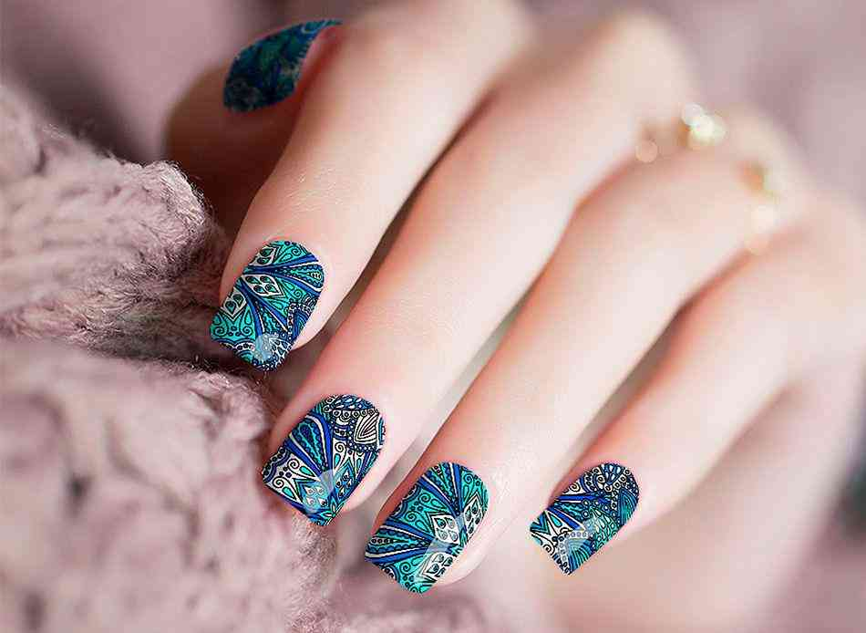 Peacock Design Nail Stickers