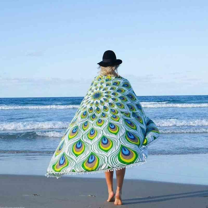 Tassels Peacock Pattern Beach Towel