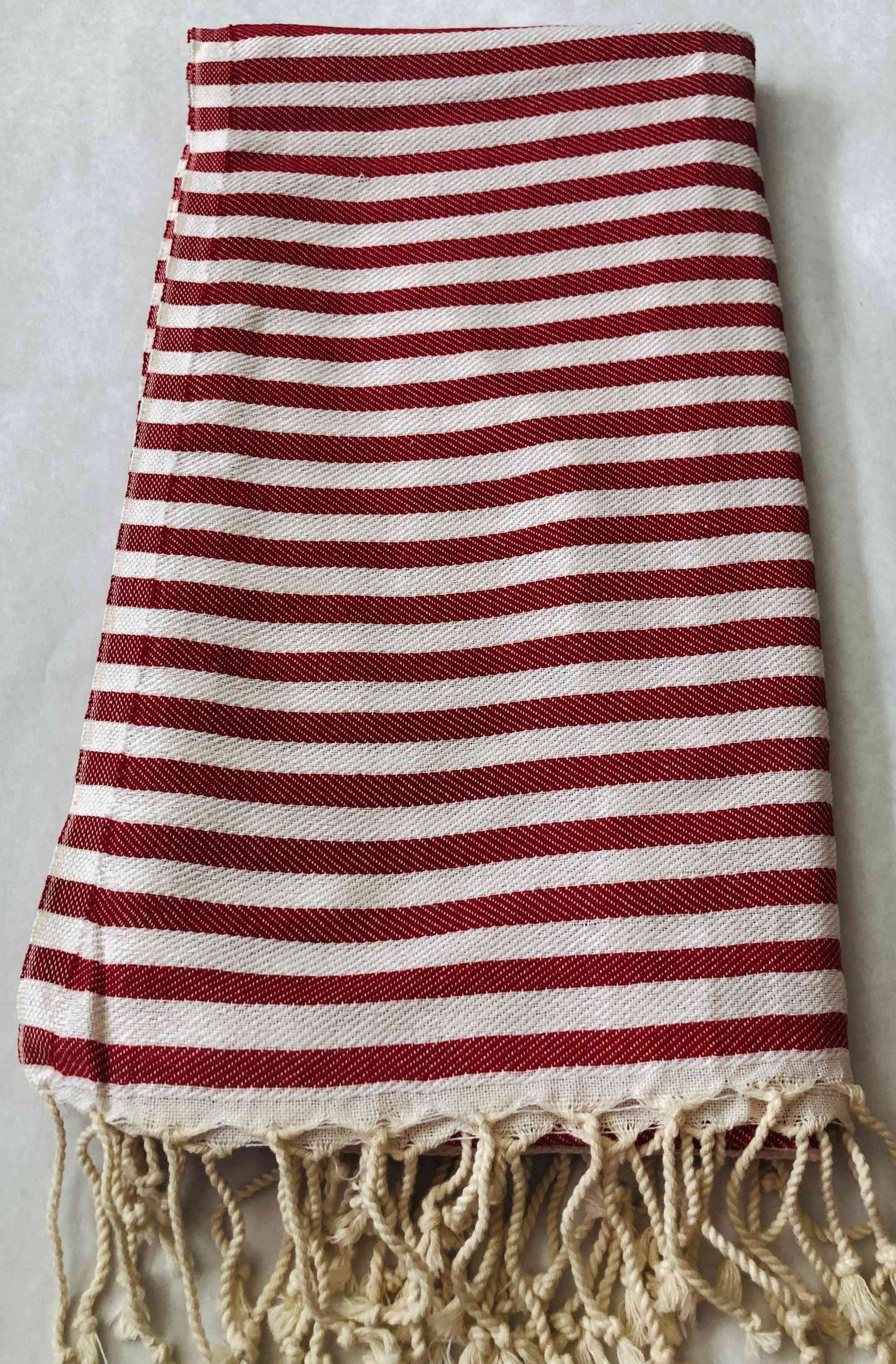 Red Striped Smart Towel - 100% Natural Cotton, Turkish Towel
