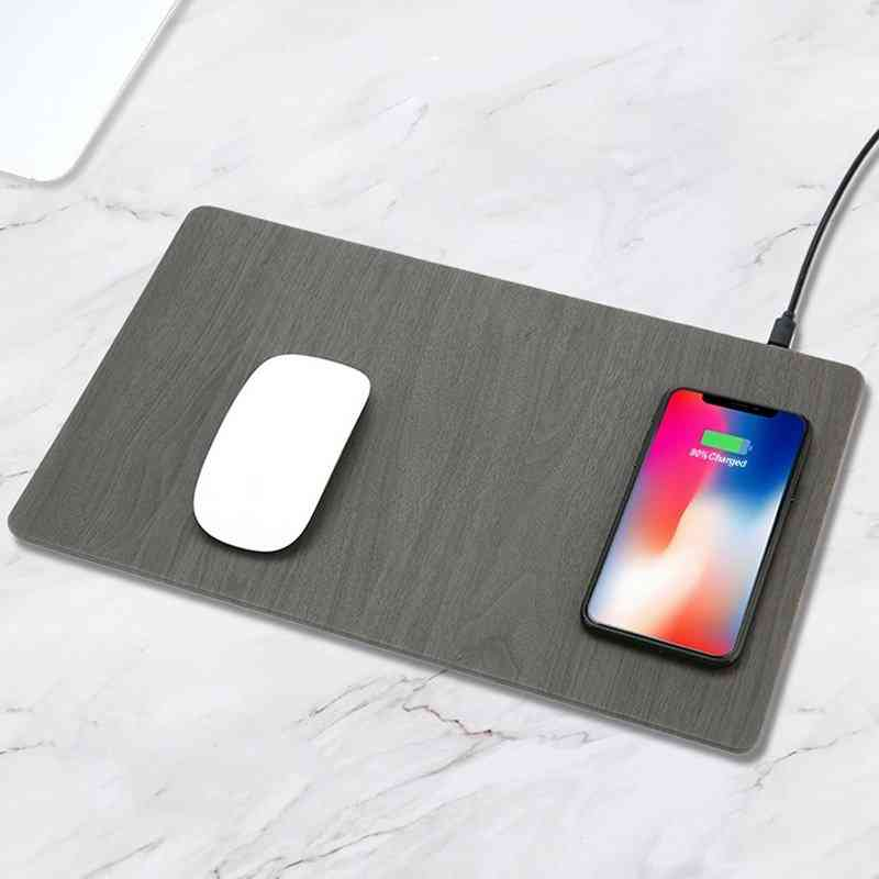 Wood Grain Wireless Charging Mouse Pad