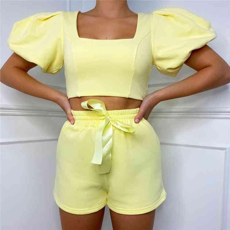 Womens Loungewear Set Square Collar Short