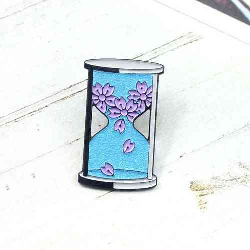 Blue Glitter Hourglass Brooch