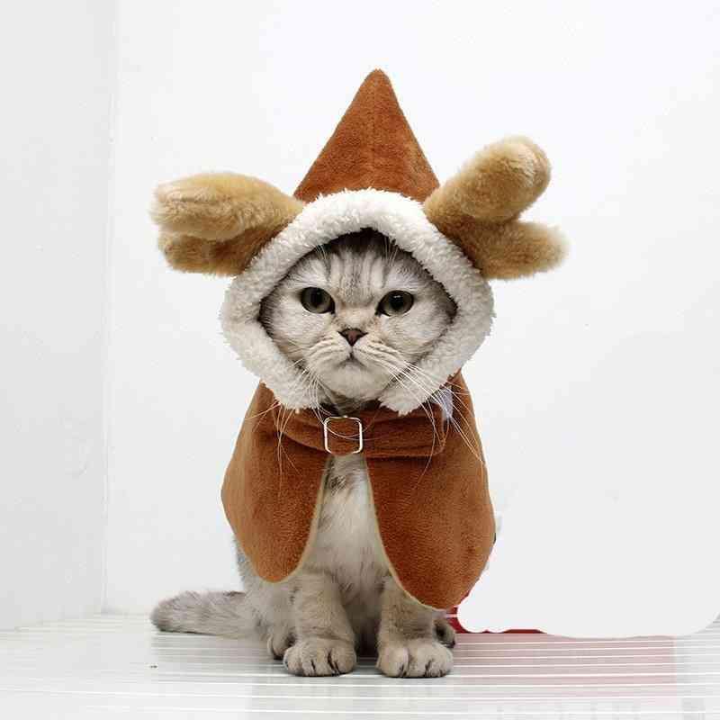 Elk Design Pet Costume Antlers Cape Winter Cosplay Warm Coat
