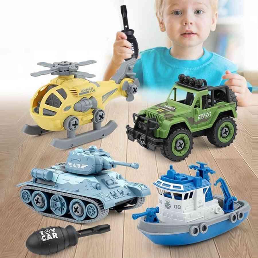 Engineering Truck Excavator Tank Helicopter Car Model Screw Creative Tool Education