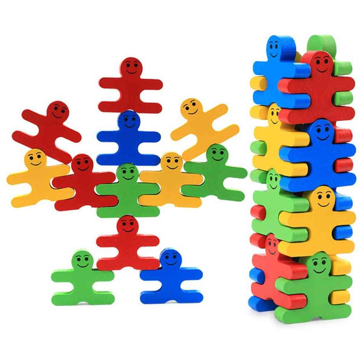 Small Cartoon Figure Style Wooden Ballance Fucntion Building Block Toy (light Green)