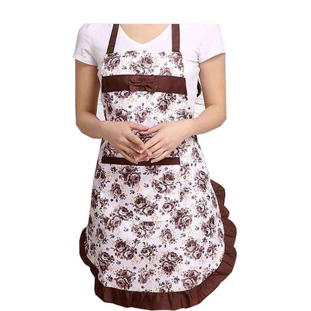 Oil-proof Cooking Apron, Adjustable Kitchen Cooking Coffee Shop Flower Printed With Pocket