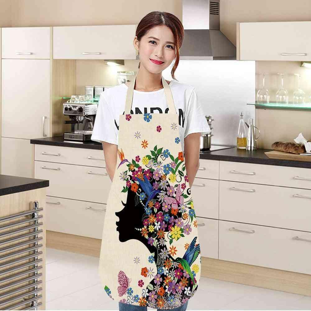 Printed, Sleeveless Linen Aprons Women - Kitchen Tool
