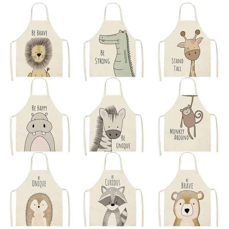 Animal Printed Cotton/linen Kitchen Cooking Aprons For Women Sleeveless Baking Bibs