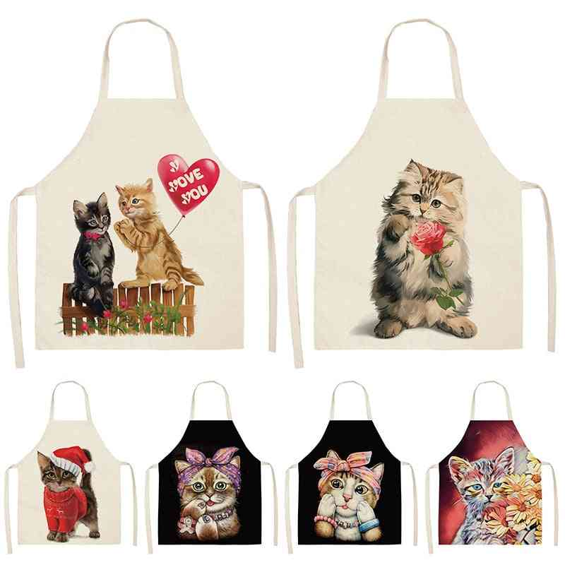 Cute Cat Kitchen Sleeveless Aprons, Household Cleaning/home Cooking Aprons