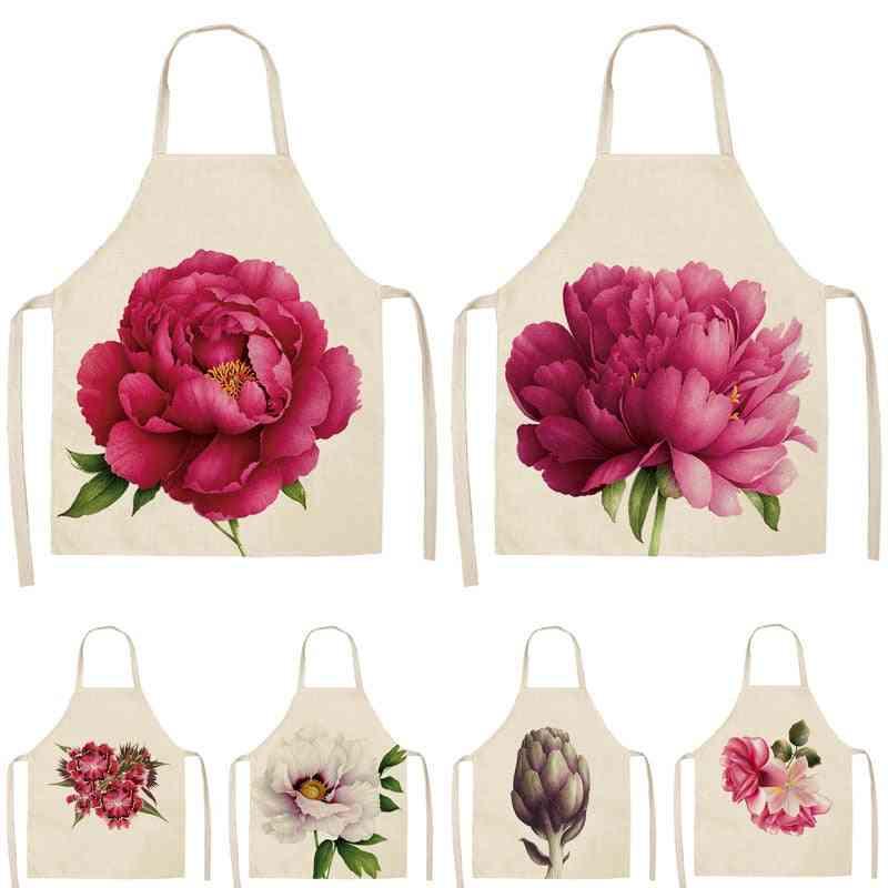 Woman Printed, Sleeveless Cotton Linen Kitchen Aprons
