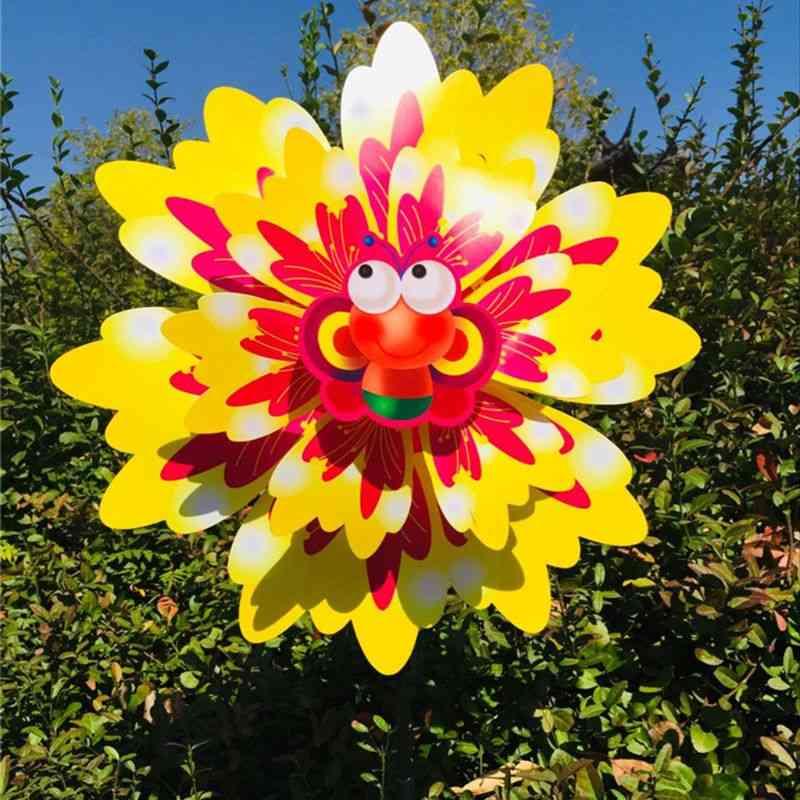 New Wind Spinner Three Layers Sunflower Outdoor Garden Decoration Windmill Pinwheel Kids