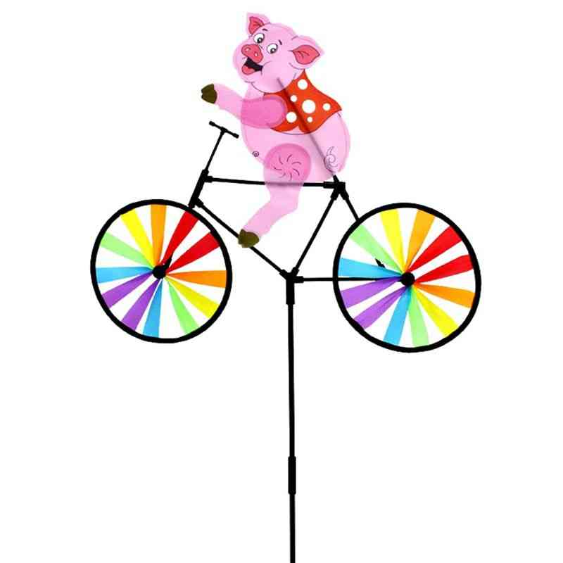 Cute 3d Animal Pig On Bike Windmill Whirligig Garden Lawn Yard Decoration Wind Spinner