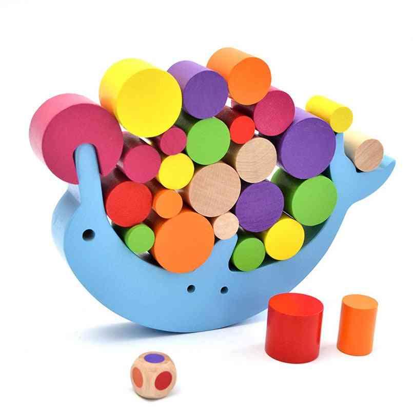 Children Wooden Building Blocks Dolphin Balance Rainbow Toy