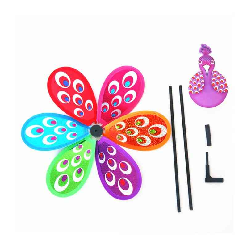 Peacock Colorful 3d Lovely Kids Toy Wind Spinner Windmill For Yard Outdoor