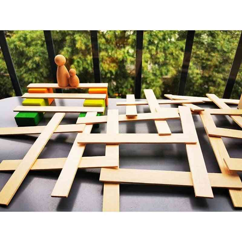 Unpaint Wooden Stacking Strips Creative Toy