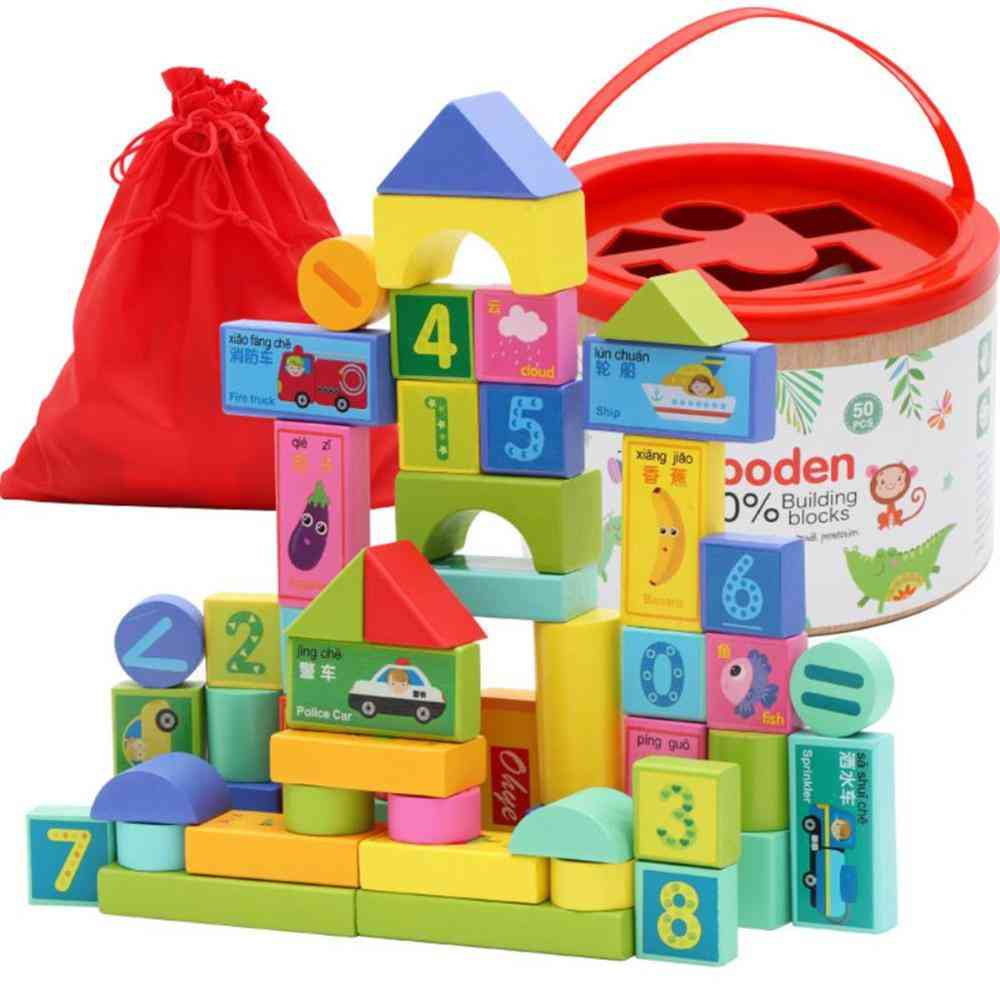 Packing Environmental Protection Paint Kids Wooden Building Blocks Toy (50 Pieces)