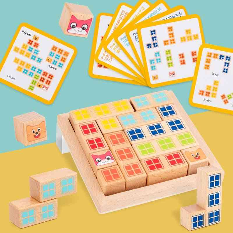 Wooden Early Learning Education Intelligence Building Block Toy