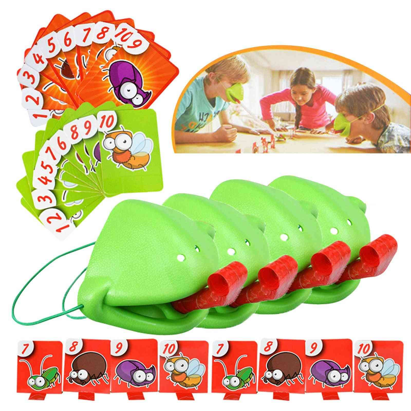 4/3/2pcs Tongue Chameleon Frog Mouth Take Card Tongue Family Party Toy