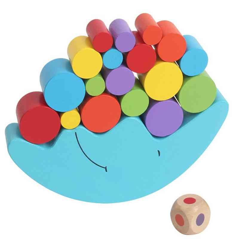 Moon Balance Beam Game Wooden Building Blocks Educational Toy (a)