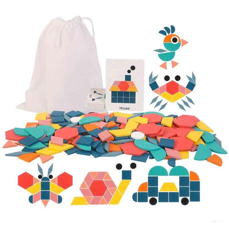 Wooden Jigsaw Block Montessori Building Block Educational Learning Toy