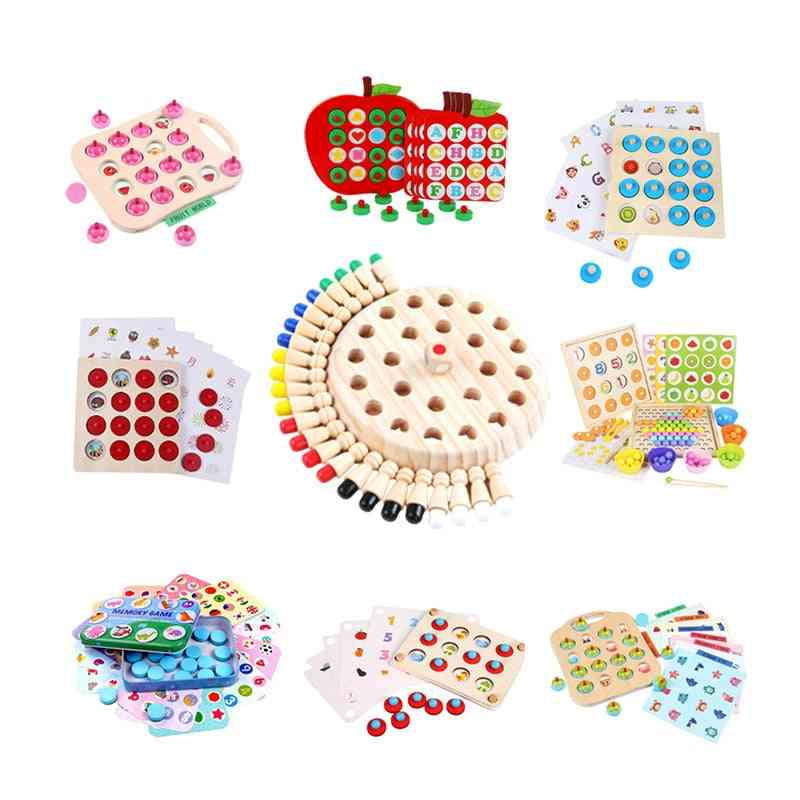 Wooden Memory Chess Game Match Stick Fun Blocks Board Educational Toy Color Cognitive For