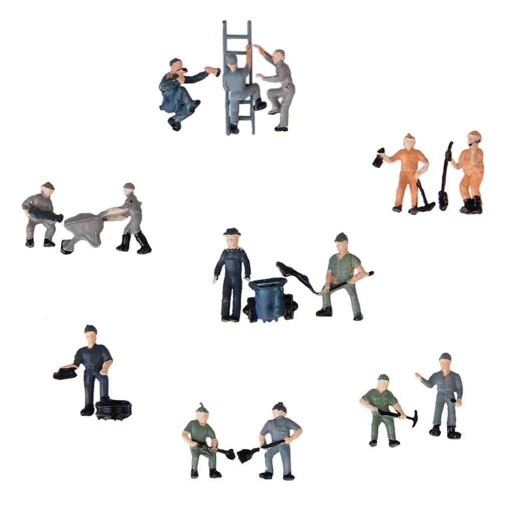 25pcs Miniature People Model Worker Figurines For Train Diorama Scenery Accessories