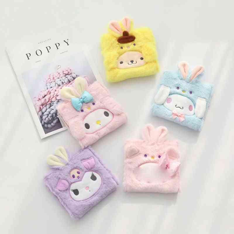 Kawaii Cinnamoroll Plush Sanitary Storage Portable My Melody Pudding Dog Napkin Sanitary Cotton Bag Dolls Toy
