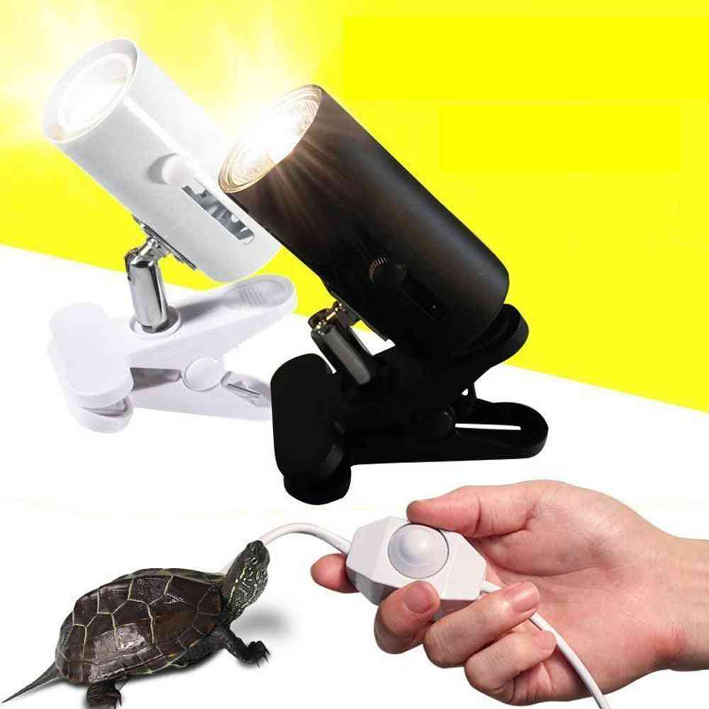 Reptile Lamp Kit With Clip-on Ceramic Light Holder, Turtle Basking Uv Heating Set
