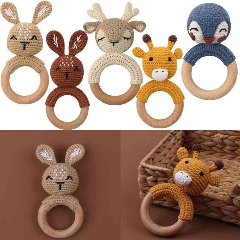Baby Wooden Teether Crochet Cartoon Baby Rattle Toy