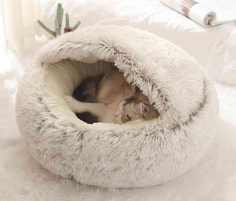 Pet Bed, Round Plush Cat Warm Soft Long Nest