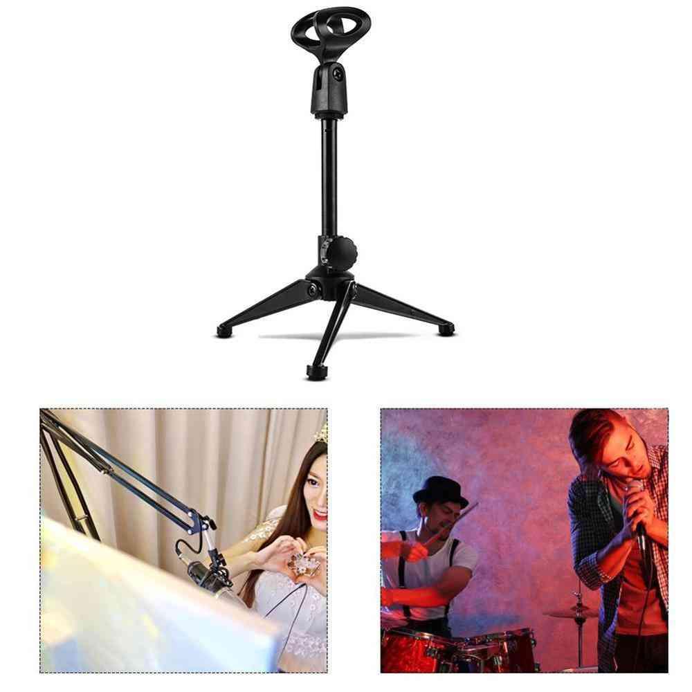 Portable Plastic Microphone Stand Desktop Tripod Wireless Wired Desktop (black)