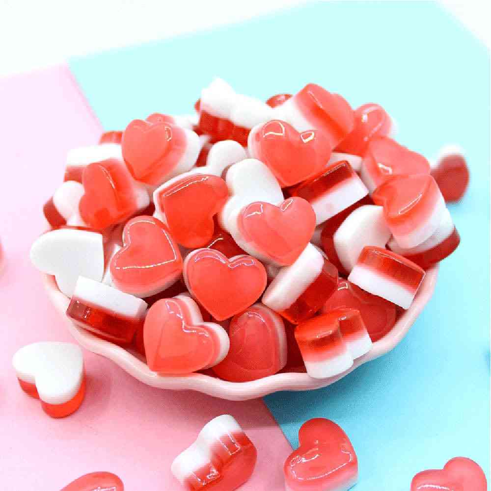 Cute Heart Candy/ Phone Case Decoration For Slime Filler Miniature Resin Cake Candy