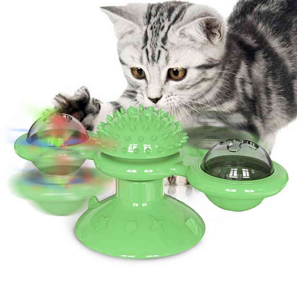 Pet Dog Cat Toy, Windmill Toothbrush With Catnip, Whirling Turntable Teasing, Scratching, Tickle Ball Puzzle Toy