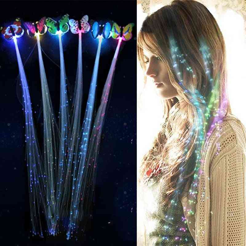 Christmas Led Colorful Butterfly Luminous Fiber Optic Wig