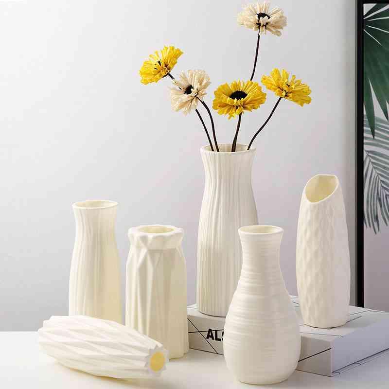 Imitation Ceramic Flower Pot, Plastic Vases For Decoration