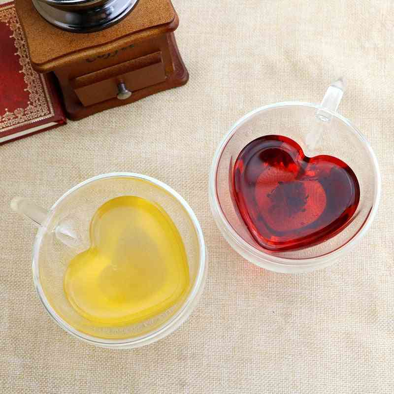 Heart Love Shaped Double Wall Glass Mug